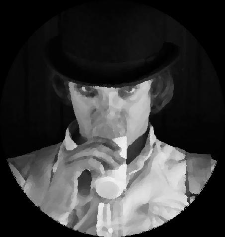 Alex DeLarge, interpretado por Malcom McDowell